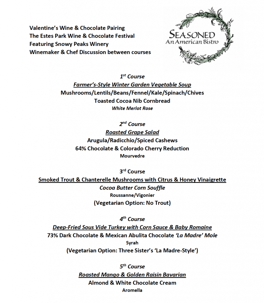 Wine & Chocolate Pairing Menu