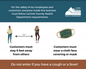 stay 6 ft apart, customers must wear a mask, do not enter if you have a fever