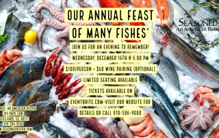Our Annual Feast of Many Fishes- December 16 6pm 100$ per person 60$ Wine paring